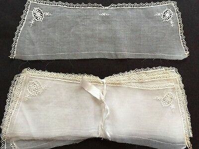 Bundle of 12 Antique Embroidered White Cotton Organza Collars UNUSED