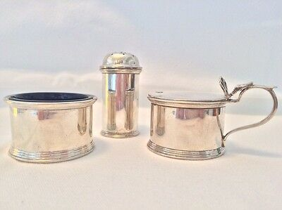 Antique WWI Solid Silver S Blankensee Cruet Set Bristol Blue Liners Chester 1914