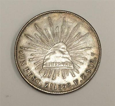 1898 Mexico One Peso Zs Fz authentic & original patina 27.01 grams EF40+