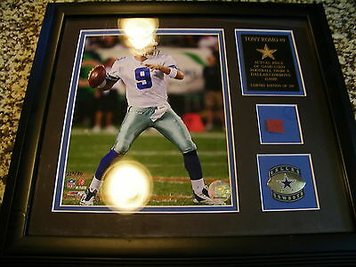 Tono Romo Game used Football Limited edition 232/500 framed matted #9 Cowboys