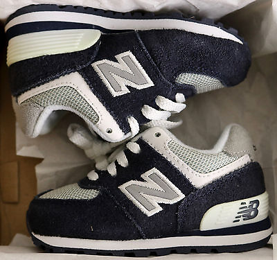 NEW BALANCE 574 Boys Toddler Running Shoes sz 4 Navy Blue Grey White Suede Mesh