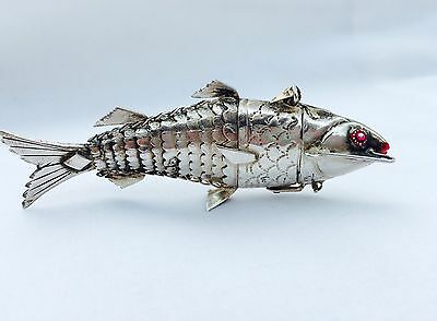 Gorgeous Antique Judaica Solid Silver Besamin Spice Articulated Fish Box