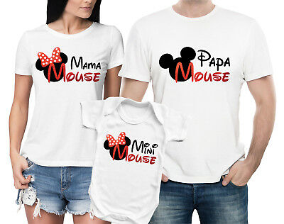 Papa  Mama Mini Mouse white family matching T-shirts and baby grow set.