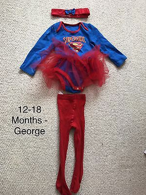 Baby Girls 3 Piece Super Girl Outfit - 12-18 Months - George