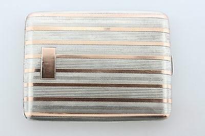 Antique Estate Elgin Sterling Silver & 14K Rose Gold Overlay Cigarette Box Case