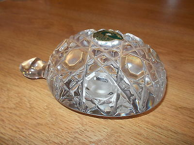Signed WATERFORD Crystal Heavy Turtle Figurine Paperweight