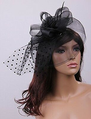 Fascinator Sinamay Hat With Veil and Clip - Black Wedding Races Party Brand New