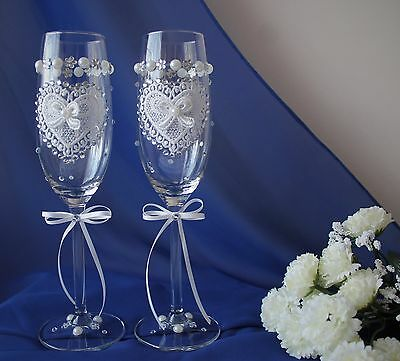 Wedding, wedding anniversary hand decorated champagne flutes glasses