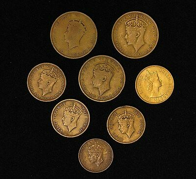 Lot of 8 Jamaica coins farthing, half 1/2 penny, penny 1937-1964