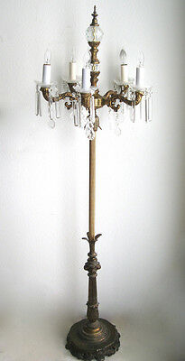 "66"" Antique Victorian Candelabra Crystal Chandelier Brass Floor Lamp Light"
