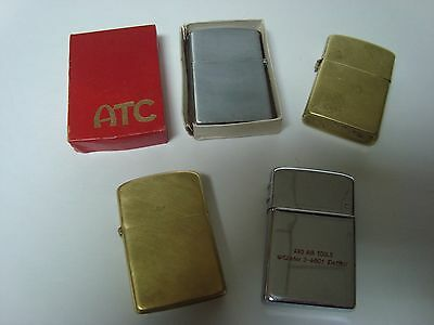 LOT OF 4 Vintage Flip Top Lighters- ALL WORKING-NEW FLINTS- {2 are Brass}