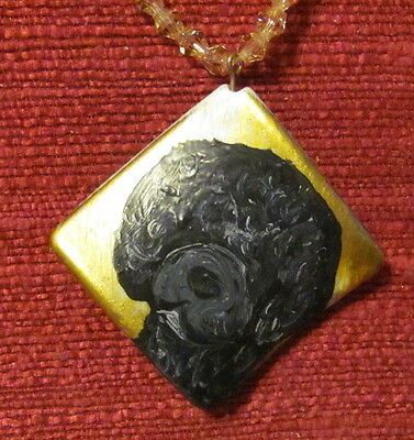 Portuguese Water Dog hand painted on a square composite pendant/bead/necklace