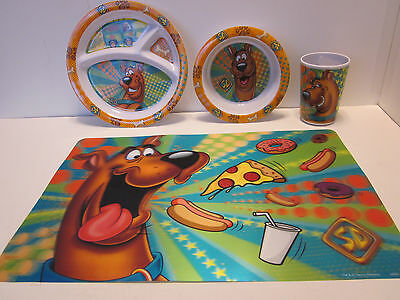 Scooby Doo 4 Piece Place Setting 3D Placemat Melamine Divided Plate Bowl Cup