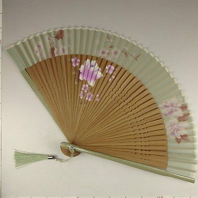 YU150 SENSU Japanese Fan Art Plant Flower Picture Geijyutu Traditional crafts