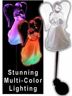 Color Changing Solar Powered Angel Lights Garden Stakes Yard Decor - Set of 2