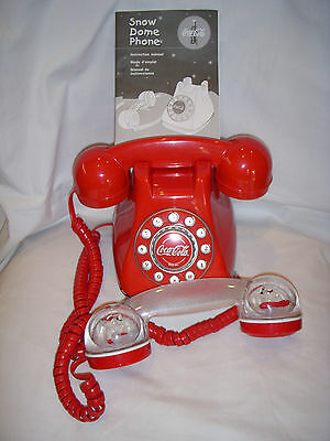 Nice COCA-COLA SNOW DOME TELEPHONE with Bonus Red Handset Included