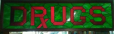 1862 One-of-a-kind Antique Stained Glass Pharmacy sign