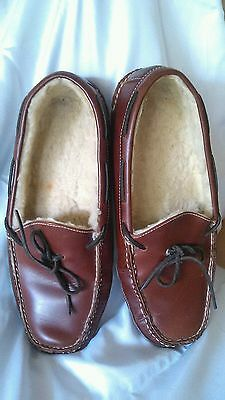 L. L. Bean Men Brown Leather Slippers Size 13 D