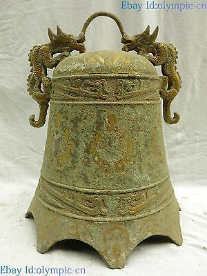 """13"""" China old bronze gild carved fine beautiful two dragon bell sculpture Statue"""
