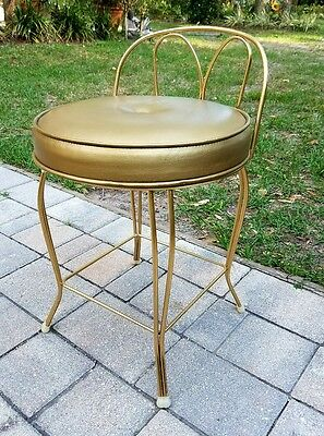 Vintage Mid Century Vanity Stool Seat Chair Original Cushion Hollywood Regency