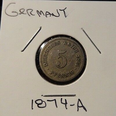 German 5 Phennig coins 1874-A and 1891-A (2 Germany coins)