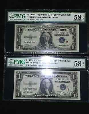 1935 A $1 Silver Certificate Experimemtal S  2-Consecutive Fr#1610 Pmg 58Epq