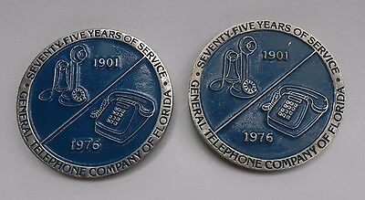 """Vintage """"General Telephone Company of Florida"""" Paperweights-75 Years of Service"""