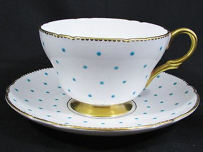 Shelley Turquoise Raised Polka Dots Henley Shape Tea Cup And Saucer