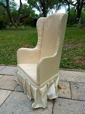 Vintage Upholstered Doll Bear High Back Arm Chair