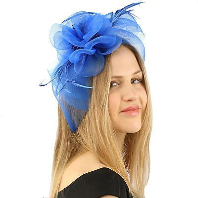 Handmade Floral Beads Feathers Headband Fascinator Millinery Cocktail Hat Blue