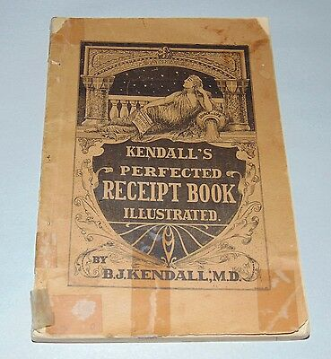 ANTIQUE 1898 KENDALL'S PERFECTED RECEIPT BOOK Remedies ANIMALS & PEOPLE