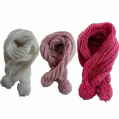 New Kids' Scarf Winter Knitted Neck Warmer Wrap w Pompoms Winter Shawl 3Colour