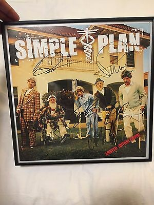 Simple Plan autograph rare limited ed. 12x12 album cover still not getting any