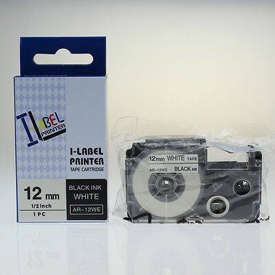 2PACK Label Tape Compatible for Casio XR-12WE Black on White 12mmx8m KL100 KL120