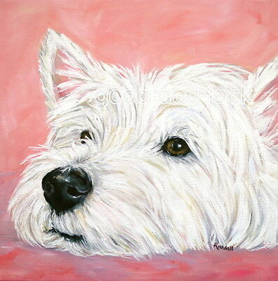 West Highland Terrier WESTIE MATTED SQUARE PRINT Painting CONTEMPLATING -RANDALL