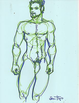 Nude Male Figure Drawing- Original Fine Art Direct from + Signed by Artist