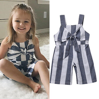 UK Stock Summer Baby Girl Jumpsuit Sleeveless Kid Romper Bodysuit Clothes Outfit