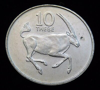 Bright Uncirculated 1984 Botswana 10 Thebe Ibex Coin Lot 617