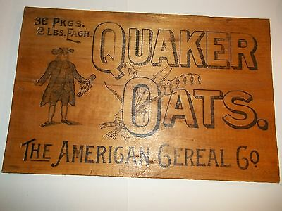 QUAKER OATS WOOD 1900-1910 SIGN Advertising MAN Shipping Box END American Cereal