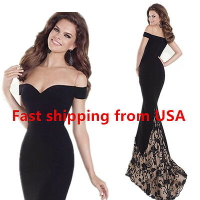 Evening dress prom womens bridesmaid formal ball gown w train size 4/6/8 Black