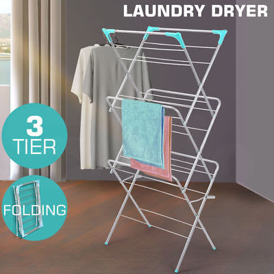 Folding Clothes Airer Drying Rack Laundry Dryer Concertina Indoor Outdoor Patio