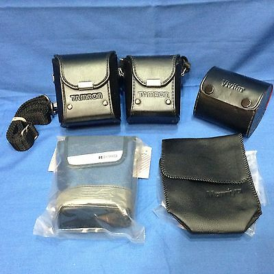Vintage LOT Leather Camera Lens Case For Zeiss Steinheil Leica Canon Tamron
