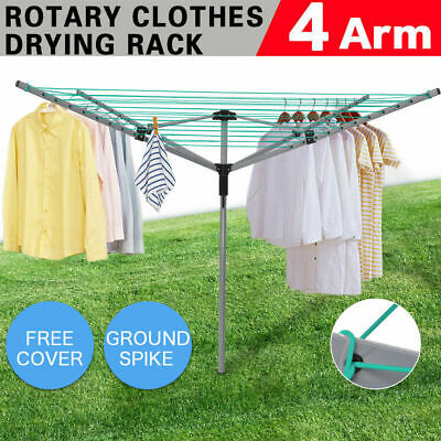 4 Arm 45M Rotary Outdoor Washing Line Airer Clothes Drying Rack Dryer