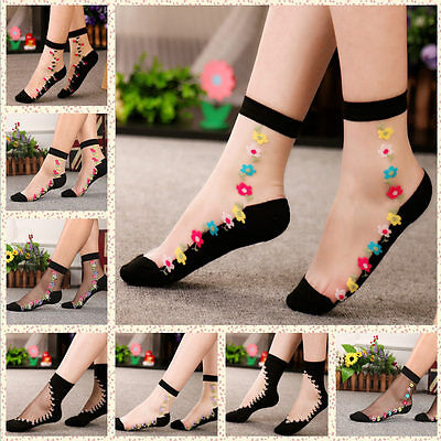 Women Transparent Thin Roses Flower Lace Socks Crystal Glass Silk Short Socks
