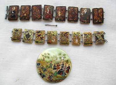 Antique Persian Jewelry and MOP and Bone Hand Painted