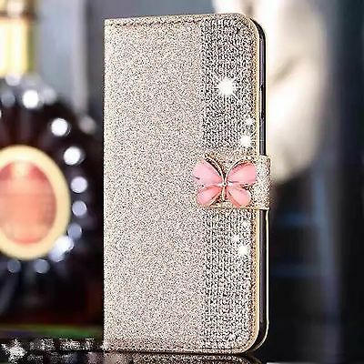 Gold 3D Butterfly Flip Bling Diamond Wallet Case Cover For Samsung Galaxy S6