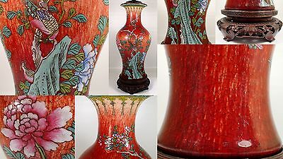 SUPERB Antique Chinese Red Ox Blood Glazed Painted Famille Rose Bottle Vase Lamp