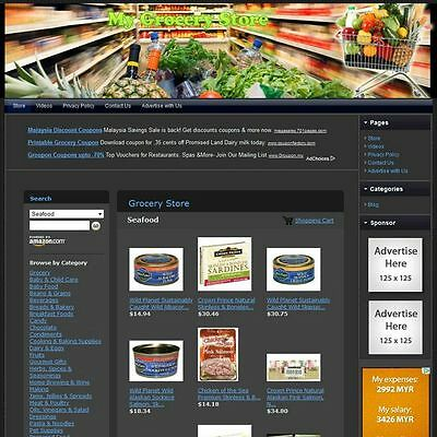 Established Grocery Foods Store Affiliate Business Website! Free .Com Domain Now