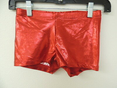 Funky Diva Size XS Red Metallic Smooth STRETCH Dance Shorts NWT