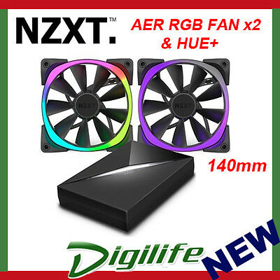 NZXT Aer RGB 2x 140mm Fans and HUE+ Controller Pack
